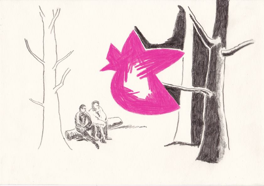 das ereignis, 20,8 x 29,5 cm, bleistift/ farbstift/ Papier, 2014 (v)