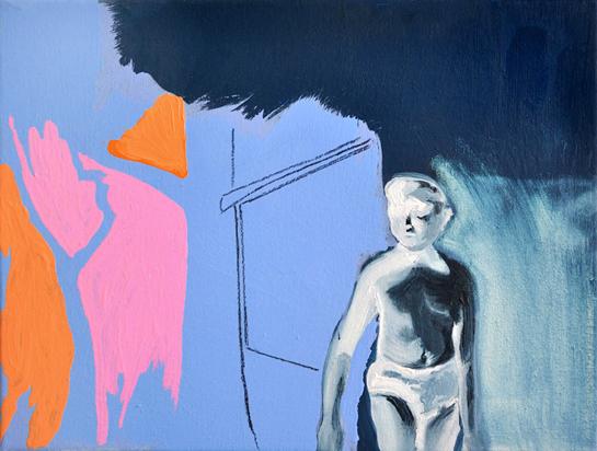 artist childhood, 30 x 40 cm, Öl/Kohle/N, 2014 (v)