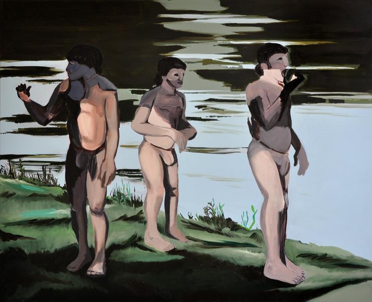 no bathers,130 x 160 cm, Acryl/Öl/Kohle/N, 2014