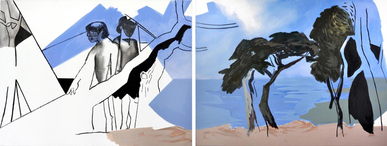 ancestralscape (no bathers) 2, 120 x 320 cm, Acryl/Öl/Kohle/N, 2016