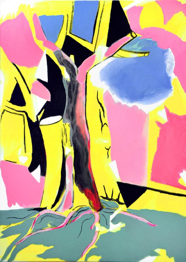 die erfindung (ehemaliger winterbaum) 2, 105 x 75 cm, Acryl/Öl/Kohle/N, 2015