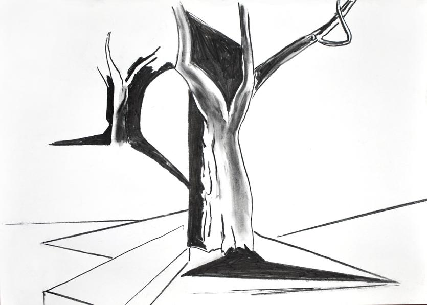 die erfindung (winterbaum), kohle/papier, 42 x 59 cm, 2015