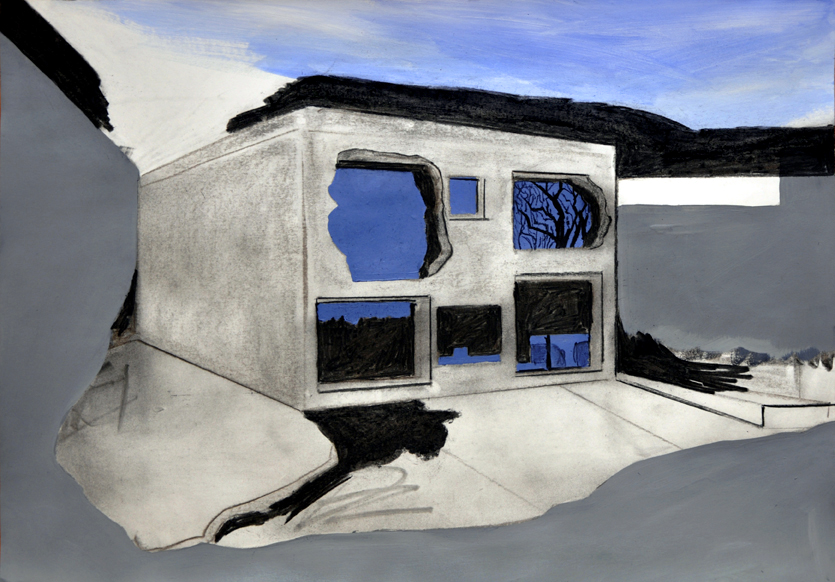 die schicht, acryl/kohle/papier, 42 x 59 cm, 2015 (v)