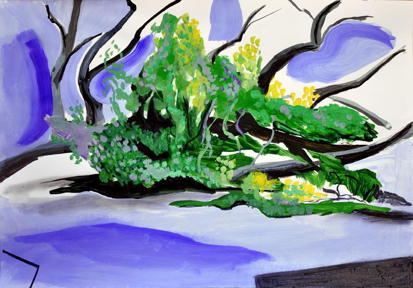 landscape (6), acryl/gouache/kohle, 42 x 59 cm, 2015 (v)