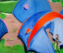 Landschaft 2, (Lara Croft), 170 x 200 cm, Öl/N, 2003