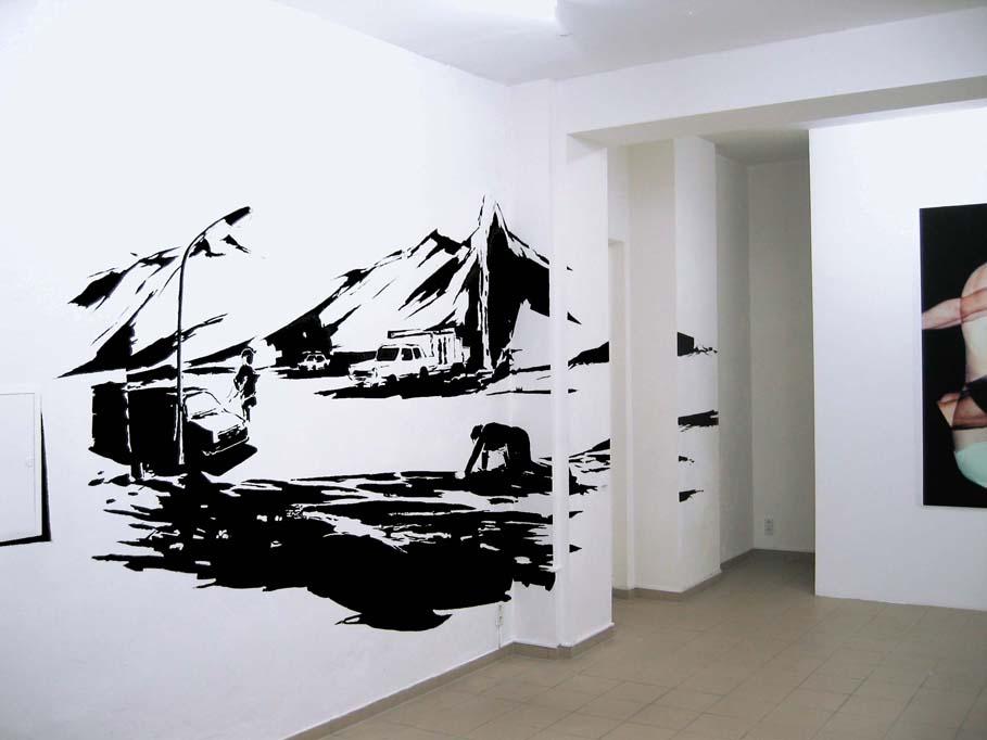 MOONSCAPE, Acrylfarbe, (Foto: Richard Schütz), Ausstellung 'modell und wirklichkeit: die unerbittliche Pünktlichkeit des Zufalls', montanaberlin, Berlin, 2007