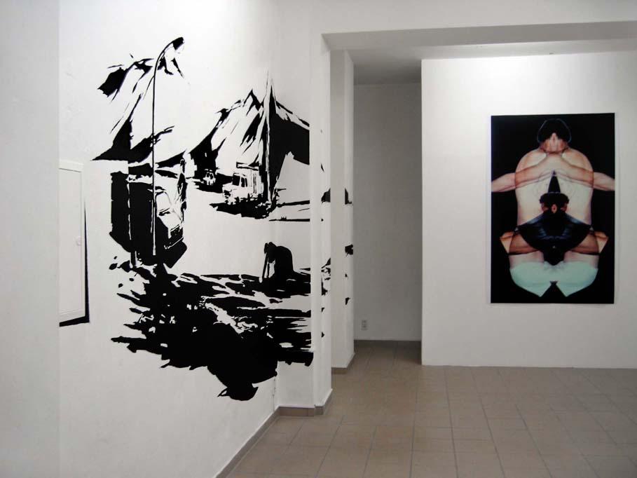 MOONSCAPE, Acrylfarbe, (Foto: Richard Schütz) Ausstellung 'modell und wirklichkeit: die unerbittliche Pünktlichkeit des Zufalls', montanaberlin, Berlin, 2007