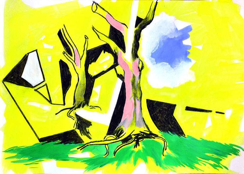 die erfindung (ehemaliger winterbaum), acryl/gouache/kohle/papier, 42 x 59 cm, 2015 (v)