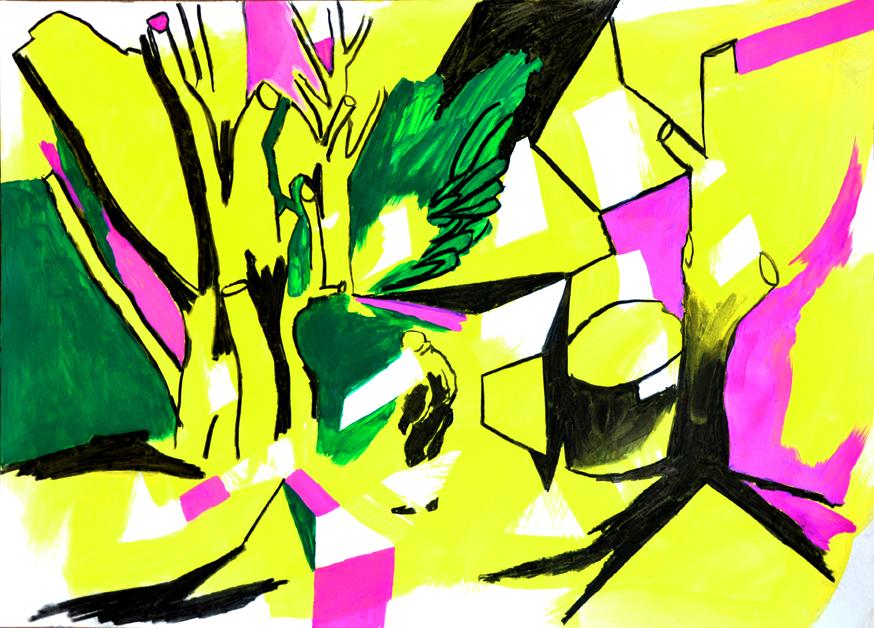damaliger und zukünftiger raum (dsf) 2, acryl/gouache/kohle/papier, 42 x 59 cm, 2015