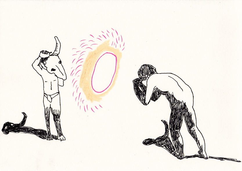 o.t. (stiefkopf), 20,8 x 29,5 cm, tusche/farbstift/ölkreide/papier, 2016
