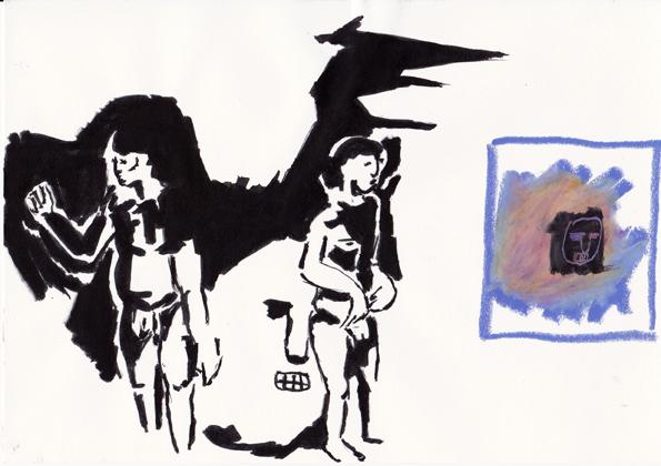 o.t., 15 x 21cm, tusche/farbstift/ölkreide/papier, 2015