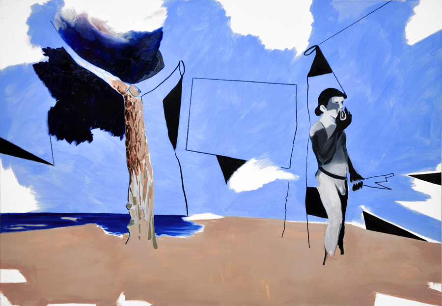 no bathers 3, 140 x 200 cm, Öl/Acryl/Kohle/N, 2015