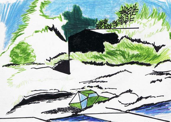 tryin' to be an angle, 14, x 21 cm, farbstift/tsche/paint marker/papier, 2012
