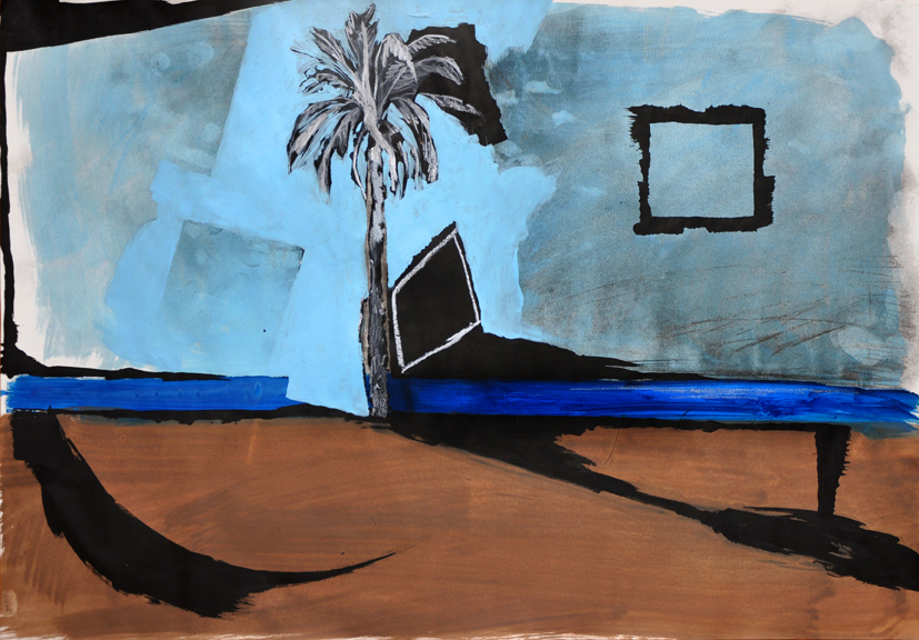 raum als anlass, acryl/gouache/wachskreide/kohle/papier, 42 x 59 cm, 2015 (v)