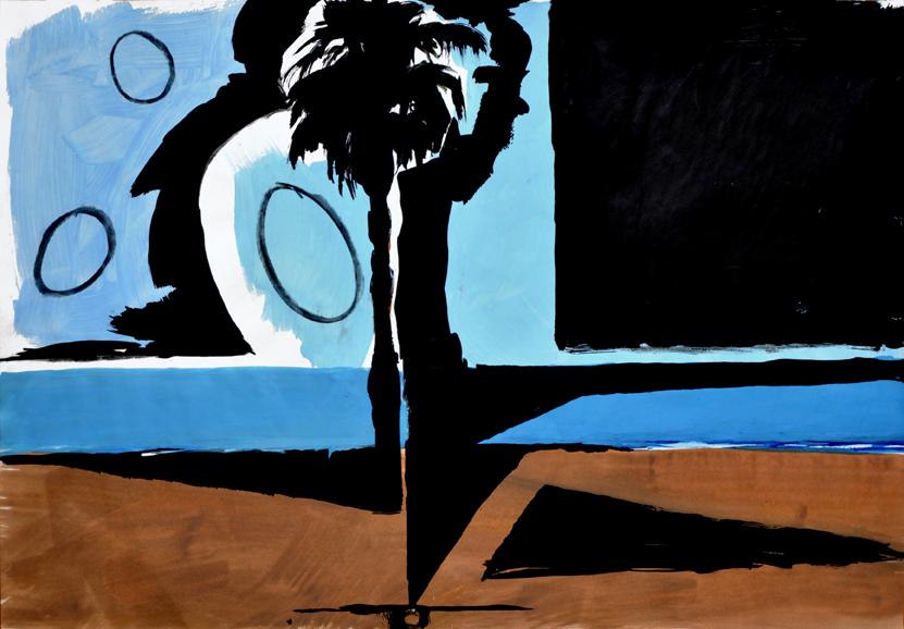 scheinbares gleichgewicht, acryl/gouache/kohle/papier, 42 x 59 cm, 2015 (v)