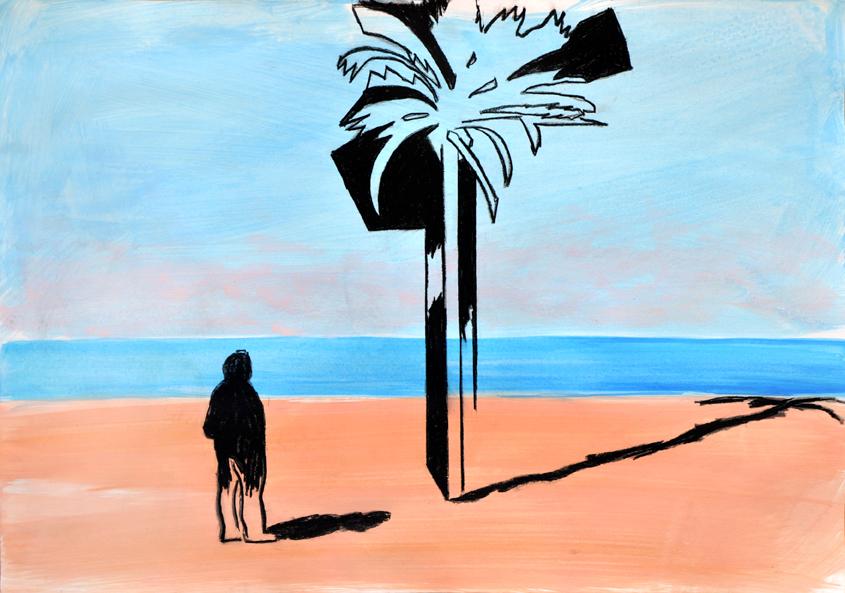 raum als zeichen (seasight) (3), acryl/gouache/reisskohle/papier, 42 x 59 cm, 2015 (v)