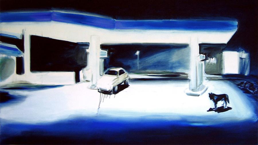 Tankstelle (4), 150 x 270 cm, Öl/N, 2004 (v)