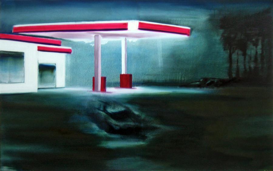 Tankstelle (10), 75 x 120 cm, Öl/N, 2005 (v)