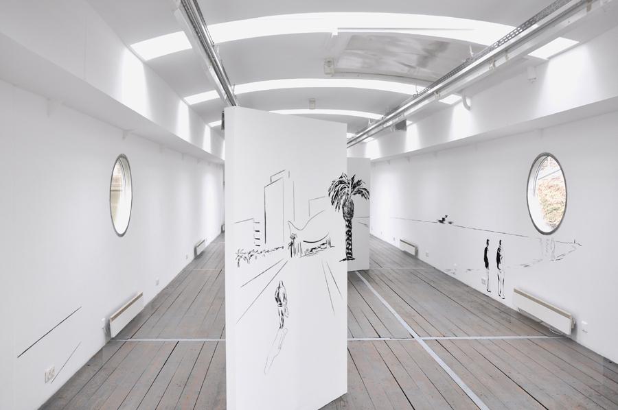 WHAT YOU SEE IS WHAT YOU DON´T - Eine Reise, Kohle/Wand/Großleporello, 2m x 8,50m, Kunstverein Würzburg, 2014