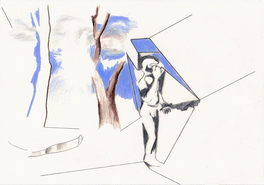 o.t. (die löwengrube), 20,8 x 29,5, bleistift/farbstift/papier, 2015