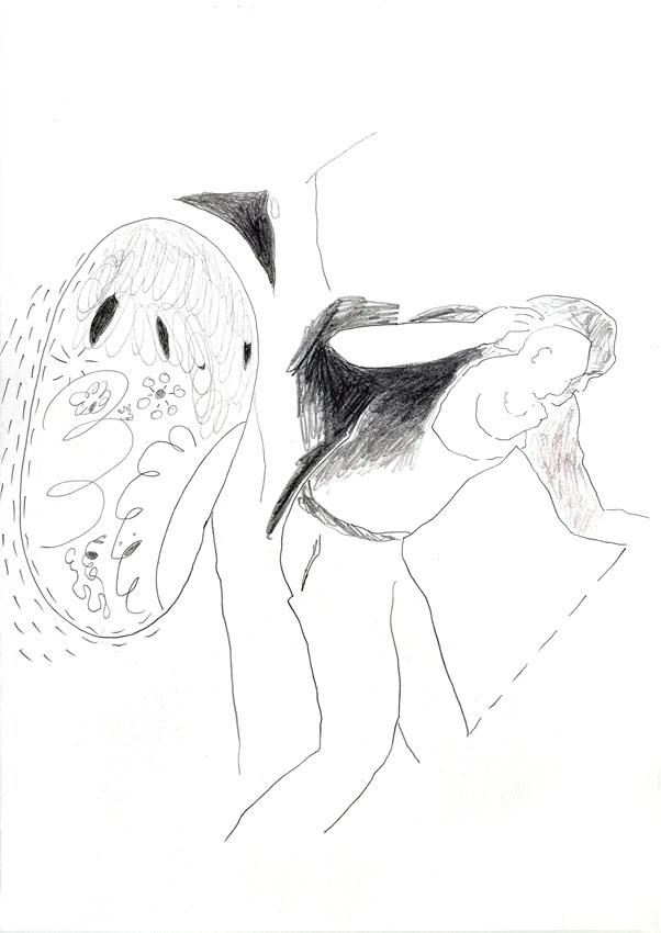 The encapsuled tenderness 2, 29,5 x 20,8 cm, pencil/paper, 2021