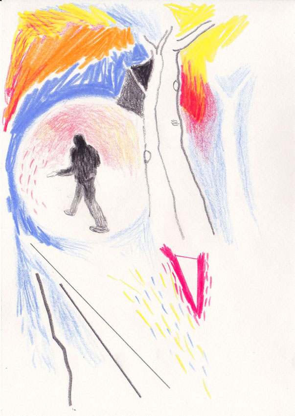 The sower 5, 21 x 15 cm, pencil/colored crayon/paper 2020 (v)