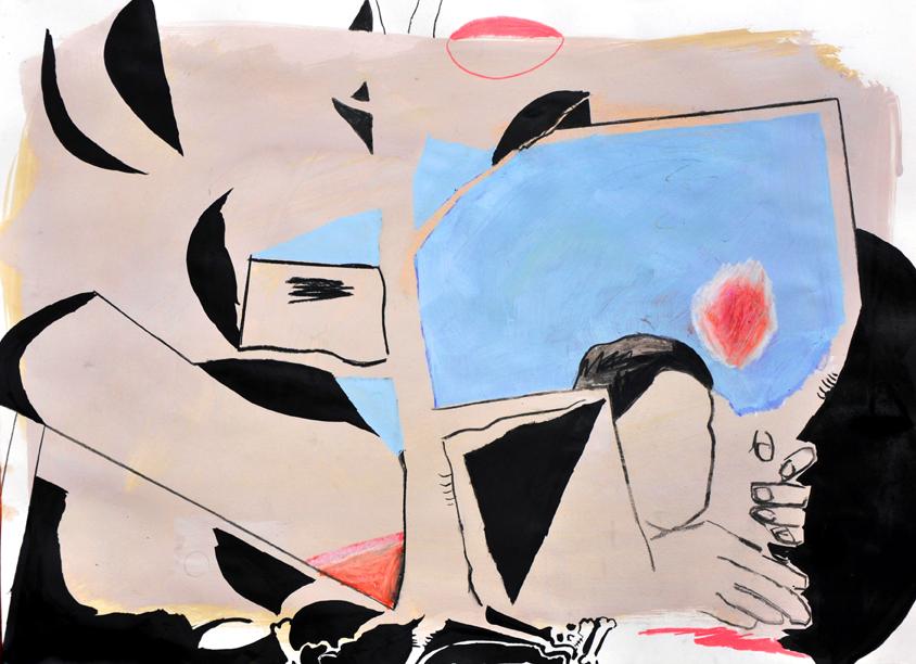 counting matters, acryl/gouache/tusche/schwarzstift/kohle/ölkreide/papier, 42 x 59 cm, 2016