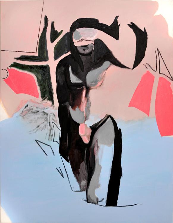 je vais vous voire (no bathers), 130 x 100 cm, Acryl/Öl/Kohle/N, 2016