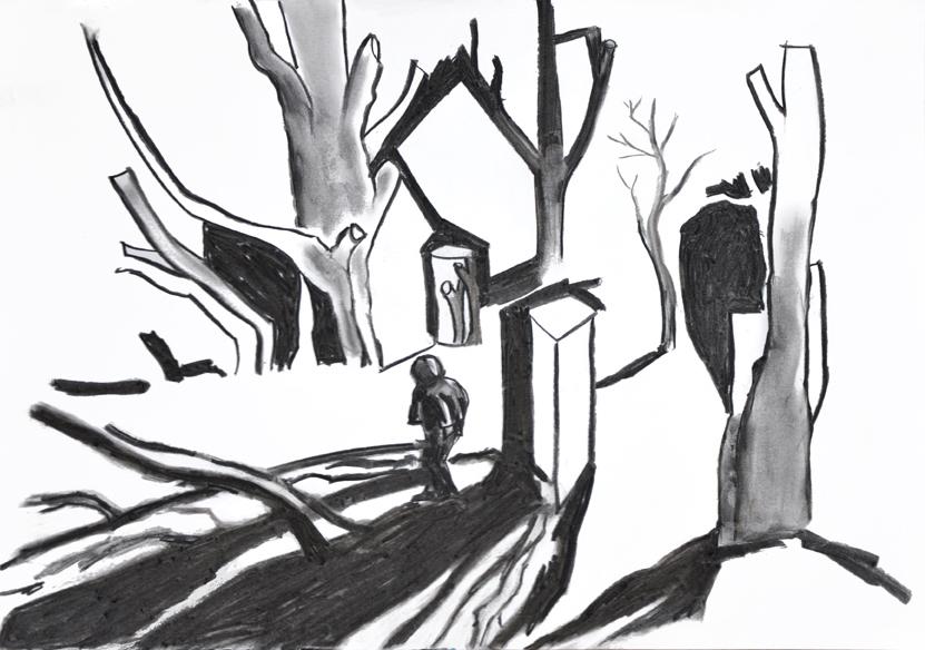 damaliger und zukünftiger raum (dsf), kohle/papier, 42 x 59 cm, 2015