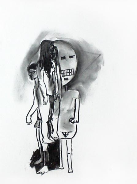 die gruppe, ca. 42 x 35 cm, kohle/papier, 2017