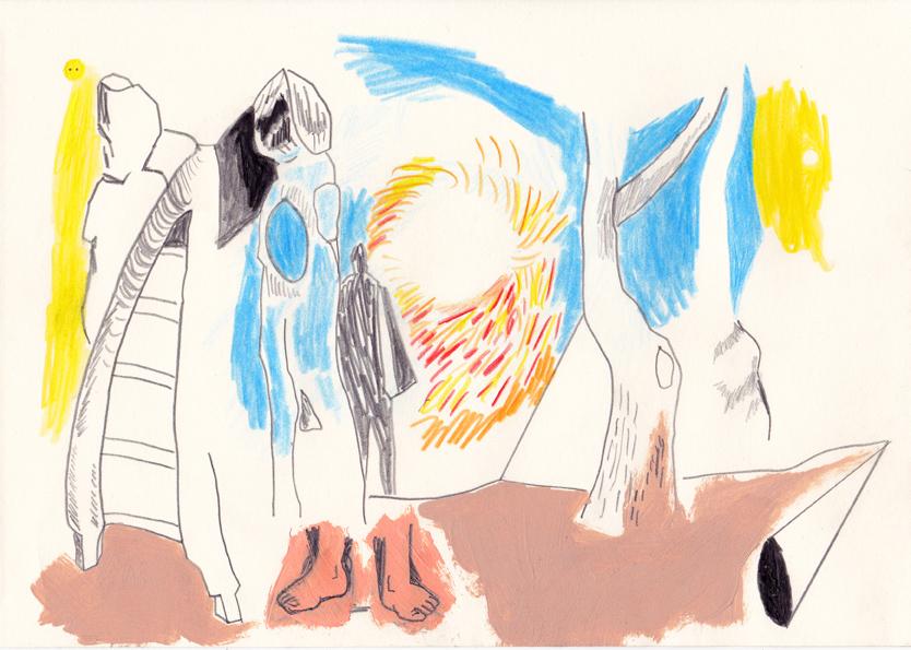 o.t., 20,8 x 29,5 cm, bleistift/farbstift/gouache/acryl/papier, 2016
