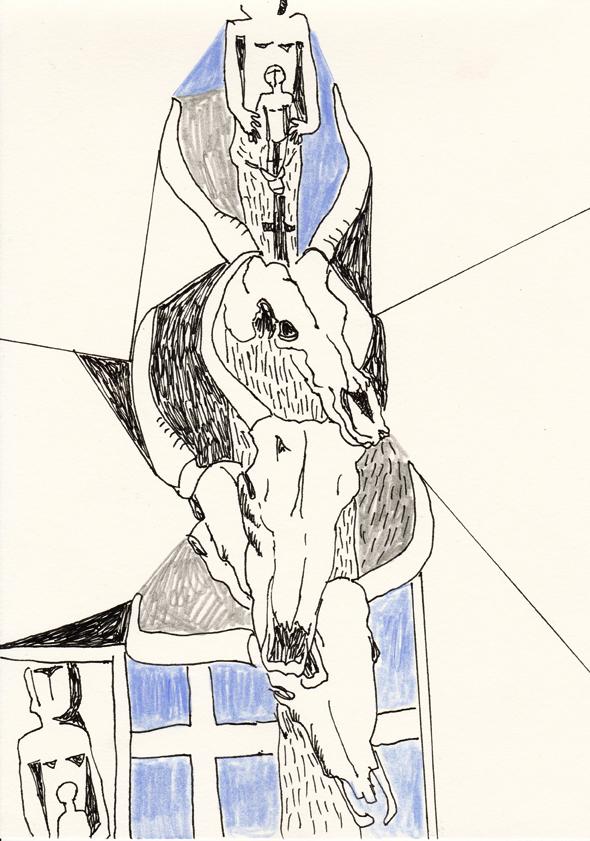 o.t., 20,8 x 29,5 cm, tusche/farbstift/bleistift/papier, 2016