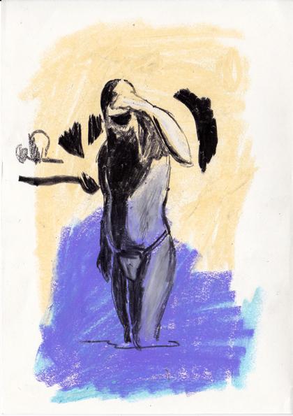 o.t., 21 x 15 cm, tusche/farbstift/ölkreide/papier, 2016