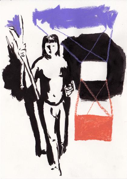 o.t., 21 x 15 cm, tusche/ölkreide/papier, 2016