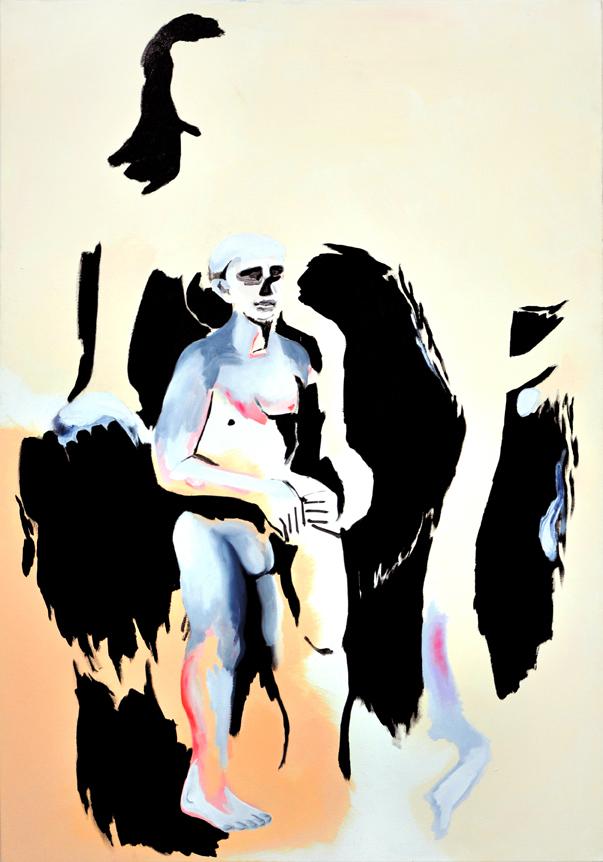 no bathers 2, 160 x 105 cm, Öl/Acryl/Kohle/N, 2015