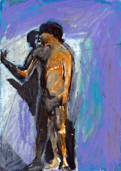 o.t., 21 x 15 cm, tusche/farbstift/ölkreide/papir, 2015 (v)