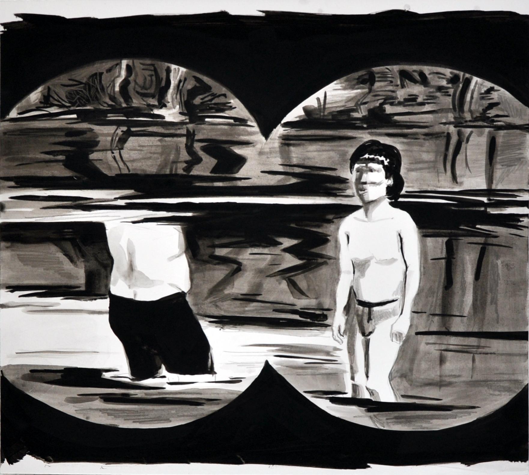 no bathers (2), gouache/papier/mdf, 35 x 40cm, 2014