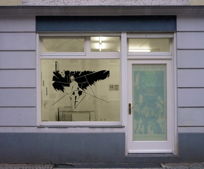MEAN SHADOW OF A GOD (2), Digitalprint/Fensterfolie, 90 x 130 cm, SUBVERSION & ABGRUND, Bewegung Nurr, Spor Klübü, Berlin, 2013