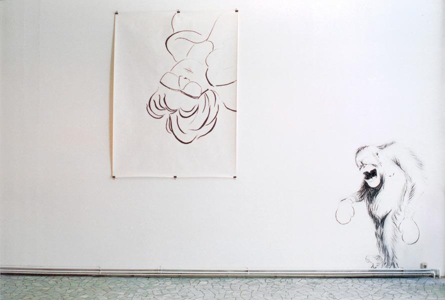 POINT OF VIEW, Kohlestift//Wand/Papier, Ausstellungsreihe 'in situ', Städtische Bühnen Münster, 2002