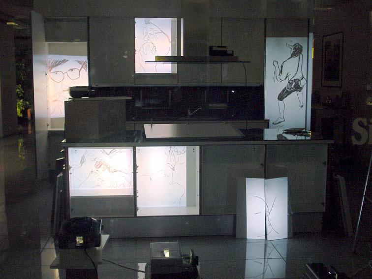 PROJEKTION, projiezierte Filzstiftzeichnungen, Schaufensterinstallation // Küchenstudio, Ausstellung '2.Hörster Fensterschau', Galerie Ü, Münster, 2002