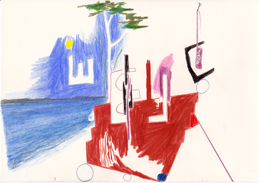 scheinbares gleichgewicht mit seeszene, 21x29cm, farbstift/papier, 2016