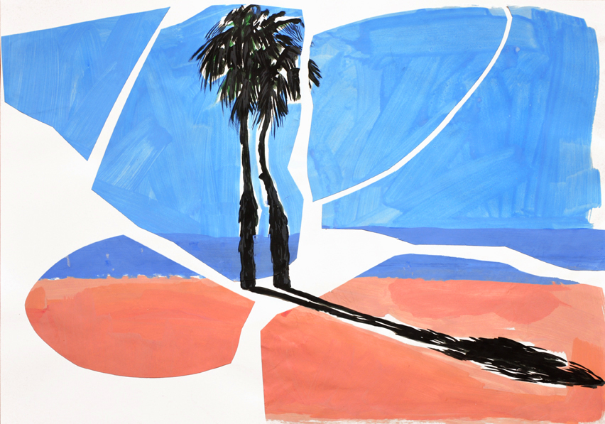 raum als anlass (seasight) (1), acryl/gouache/papier/papier, 42 x 59 cm, 2015