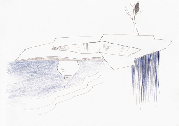 die raumfrage, 15 x 21 cm, bleistift/farbsitft/papier, 2016