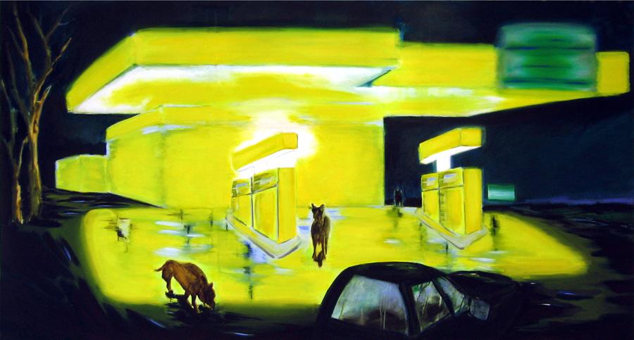Tankstelle, 150 x 290 cm, Öl/N, 2004 (v)
