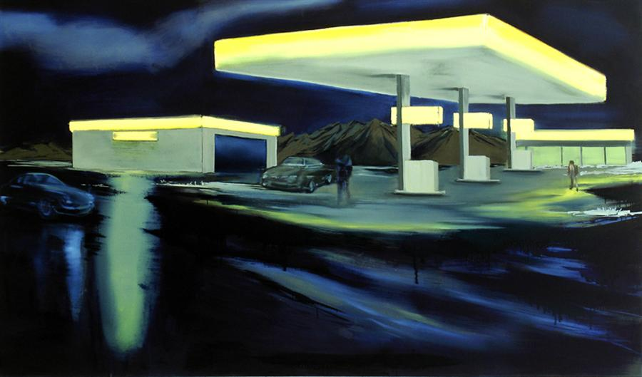 Tankstelle (Vorahnung) (15), 150 x 270 cm, Öl/N, 2007 (v)