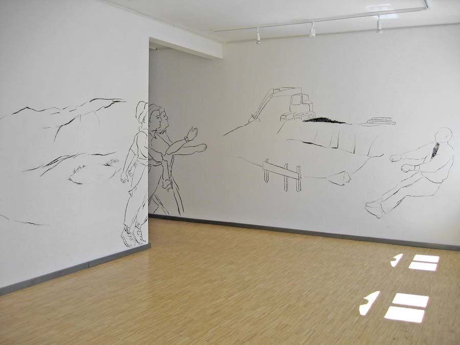 ÜBER LAND, Kohlestift, Galerie im Kunsthaus, Erfurt, 2005