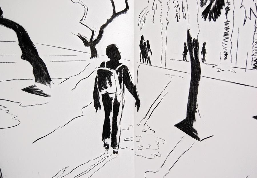 WHAT YOU SEE IS WHAT YOU DON´T - Eine Reise, Kohle/Wand/Großleporello, 2m x 8,50m, Kunstverein Würzburg, 2014 // Foto: Frank Kupke, www.mainpost.de, Würzburg
