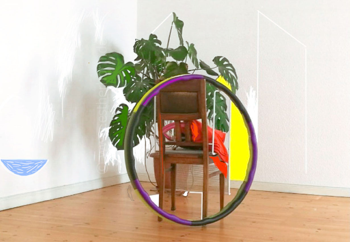 Neuer Raum 3, printversion various dimensions, digital drawing on photo, 2017