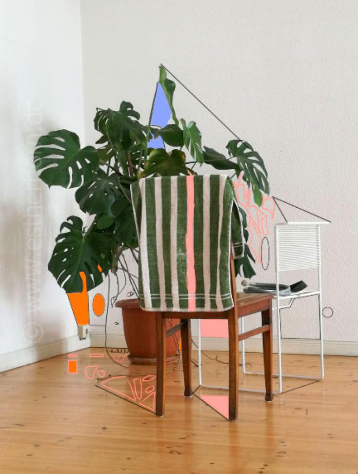 Neuer Raum, printversion various dimensions, digital drawing on photo, 2017